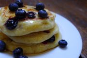gluten-free blueberry-corn griddle cakes