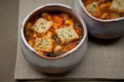 Gluten-Free, Dairy-Free Minestrone Chard Soup with Garlic Croutons