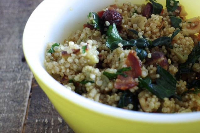 Gluten-Free, Dairy-Free Quinoa Salad with Roasted Sweet Potatoes, Crispy Bacon and Toasted Hazelnuts