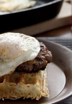Gluten-Free, Dairy-Free Hash Brown Waffles with Apple-Sausage Patties and Fried Eggs
