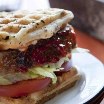 Gluten-Free, Dairy-Free Meatloaf Sandwiches on Sun-Dried Tomato Waffle Bread